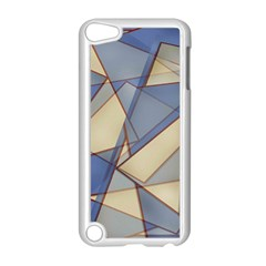 Blue And Tan Triangles Intertwine Together To Create An Abstract Background Apple iPod Touch 5 Case (White)