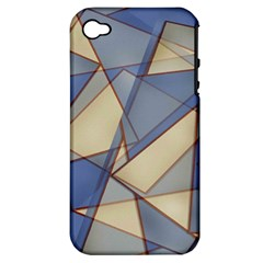 Blue And Tan Triangles Intertwine Together To Create An Abstract Background Apple iPhone 4/4S Hardshell Case (PC+Silicone)