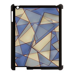 Blue And Tan Triangles Intertwine Together To Create An Abstract Background Apple iPad 3/4 Case (Black)