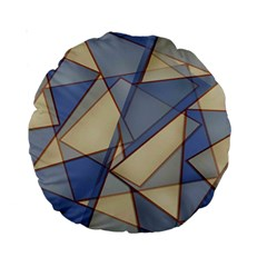 Blue And Tan Triangles Intertwine Together To Create An Abstract Background Standard 15  Premium Round Cushions