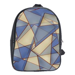 Blue And Tan Triangles Intertwine Together To Create An Abstract Background School Bags (XL)