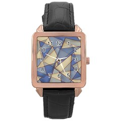 Blue And Tan Triangles Intertwine Together To Create An Abstract Background Rose Gold Leather Watch