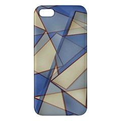 Blue And Tan Triangles Intertwine Together To Create An Abstract Background Apple iPhone 5 Premium Hardshell Case