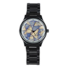 Blue And Tan Triangles Intertwine Together To Create An Abstract Background Stainless Steel Round Watch