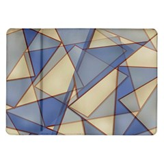 Blue And Tan Triangles Intertwine Together To Create An Abstract Background Samsung Galaxy Tab 10 1  P7500 Flip Case