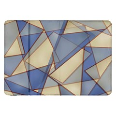 Blue And Tan Triangles Intertwine Together To Create An Abstract Background Samsung Galaxy Tab 8.9  P7300 Flip Case