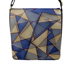 Blue And Tan Triangles Intertwine Together To Create An Abstract Background Flap Messenger Bag (L)