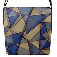 Blue And Tan Triangles Intertwine Together To Create An Abstract Background Flap Messenger Bag (S)