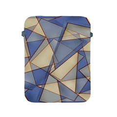 Blue And Tan Triangles Intertwine Together To Create An Abstract Background Apple iPad 2/3/4 Protective Soft Cases