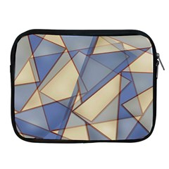Blue And Tan Triangles Intertwine Together To Create An Abstract Background Apple iPad 2/3/4 Zipper Cases
