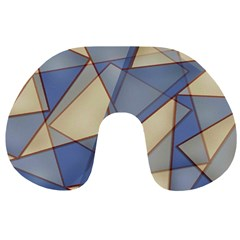 Blue And Tan Triangles Intertwine Together To Create An Abstract Background Travel Neck Pillows