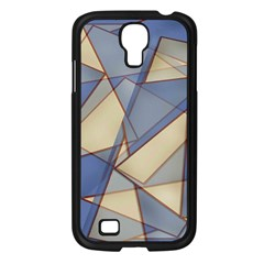 Blue And Tan Triangles Intertwine Together To Create An Abstract Background Samsung Galaxy S4 I9500/ I9505 Case (Black)