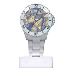 Blue And Tan Triangles Intertwine Together To Create An Abstract Background Plastic Nurses Watch