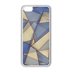 Blue And Tan Triangles Intertwine Together To Create An Abstract Background Apple iPhone 5C Seamless Case (White)