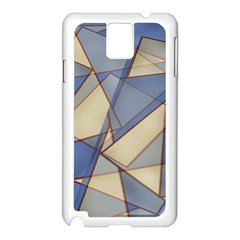 Blue And Tan Triangles Intertwine Together To Create An Abstract Background Samsung Galaxy Note 3 N9005 Case (White)