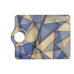 Blue And Tan Triangles Intertwine Together To Create An Abstract Background Kindle Fire Hd (2013) Flip 360 Case