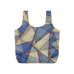 Blue And Tan Triangles Intertwine Together To Create An Abstract Background Full Print Recycle Bags (S)