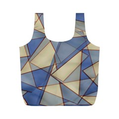 Blue And Tan Triangles Intertwine Together To Create An Abstract Background Full Print Recycle Bags (M)