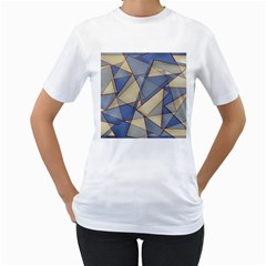 Blue And Tan Triangles Intertwine Together To Create An Abstract Background Women s T-Shirt (White)