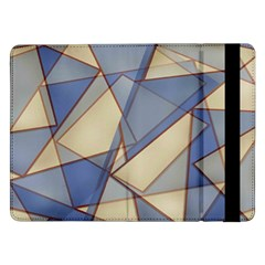 Blue And Tan Triangles Intertwine Together To Create An Abstract Background Samsung Galaxy Tab Pro 12 2  Flip Case