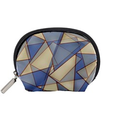Blue And Tan Triangles Intertwine Together To Create An Abstract Background Accessory Pouches (Small)