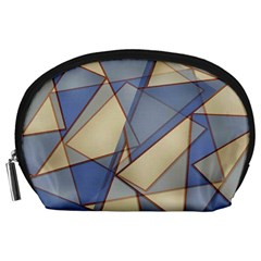 Blue And Tan Triangles Intertwine Together To Create An Abstract Background Accessory Pouches (Large)