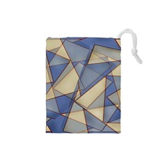 Blue And Tan Triangles Intertwine Together To Create An Abstract Background Drawstring Pouches (Small)