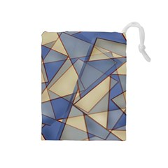 Blue And Tan Triangles Intertwine Together To Create An Abstract Background Drawstring Pouches (medium)