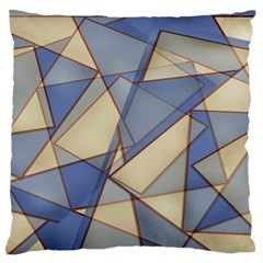 Blue And Tan Triangles Intertwine Together To Create An Abstract Background Large Flano Cushion Case (One Side)