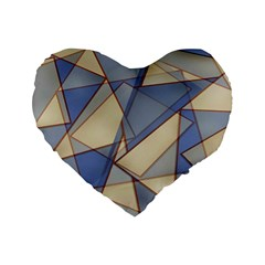 Blue And Tan Triangles Intertwine Together To Create An Abstract Background Standard 16  Premium Flano Heart Shape Cushions