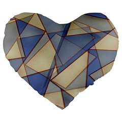 Blue And Tan Triangles Intertwine Together To Create An Abstract Background Large 19  Premium Flano Heart Shape Cushions
