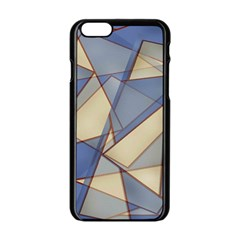 Blue And Tan Triangles Intertwine Together To Create An Abstract Background Apple iPhone 6/6S Black Enamel Case