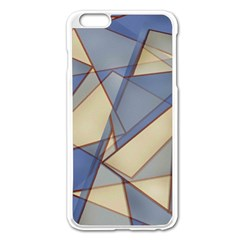 Blue And Tan Triangles Intertwine Together To Create An Abstract Background Apple iPhone 6 Plus/6S Plus Enamel White Case