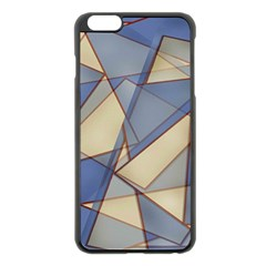 Blue And Tan Triangles Intertwine Together To Create An Abstract Background Apple Iphone 6 Plus/6s Plus Black Enamel Case