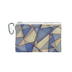 Blue And Tan Triangles Intertwine Together To Create An Abstract Background Canvas Cosmetic Bag (S)