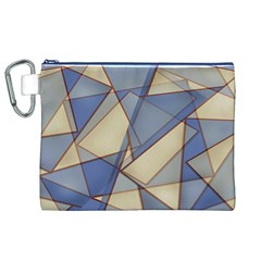 Blue And Tan Triangles Intertwine Together To Create An Abstract Background Canvas Cosmetic Bag (XL)