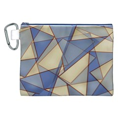 Blue And Tan Triangles Intertwine Together To Create An Abstract Background Canvas Cosmetic Bag (xxl)
