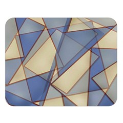Blue And Tan Triangles Intertwine Together To Create An Abstract Background Double Sided Flano Blanket (large)