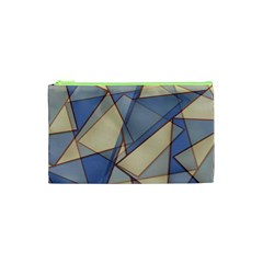 Blue And Tan Triangles Intertwine Together To Create An Abstract Background Cosmetic Bag (XS)