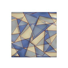 Blue And Tan Triangles Intertwine Together To Create An Abstract Background Satin Bandana Scarf