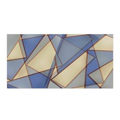 Blue And Tan Triangles Intertwine Together To Create An Abstract Background Satin Wrap