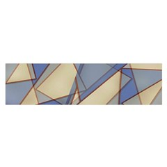 Blue And Tan Triangles Intertwine Together To Create An Abstract Background Satin Scarf (oblong)