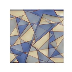 Blue And Tan Triangles Intertwine Together To Create An Abstract Background Small Satin Scarf (Square)