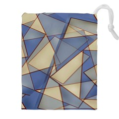 Blue And Tan Triangles Intertwine Together To Create An Abstract Background Drawstring Pouches (xxl)