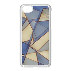 Blue And Tan Triangles Intertwine Together To Create An Abstract Background Apple Iphone 7 Seamless Case (white)