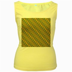 Abstract Seamless Pattern Women s Yellow Tank Top