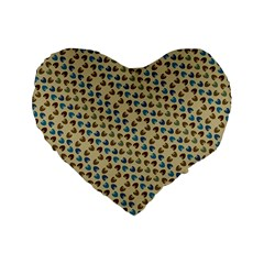 Abstract Seamless Pattern Standard 16  Premium Flano Heart Shape Cushions