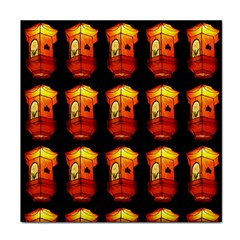 Paper Lanterns Pattern Background In Fiery Orange With A Black Background Tile Coasters