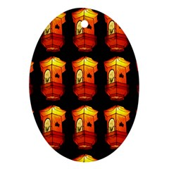Paper Lanterns Pattern Background In Fiery Orange With A Black Background Ornament (oval)