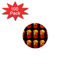 Paper Lanterns Pattern Background In Fiery Orange With A Black Background 1  Mini Magnets (100 pack)